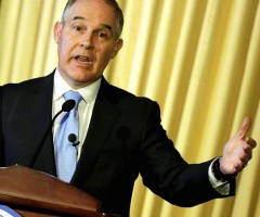 New EPA administrator Scott Pruitt waving hands